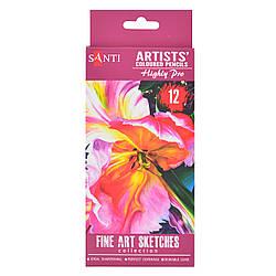 """Набор художественных цветных карандашей """"Santi Highly Pro"""", 12 шт"""