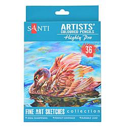 """Набор художественных цветных карандашей """"Santi Highly Pro"""", 36 шт"""