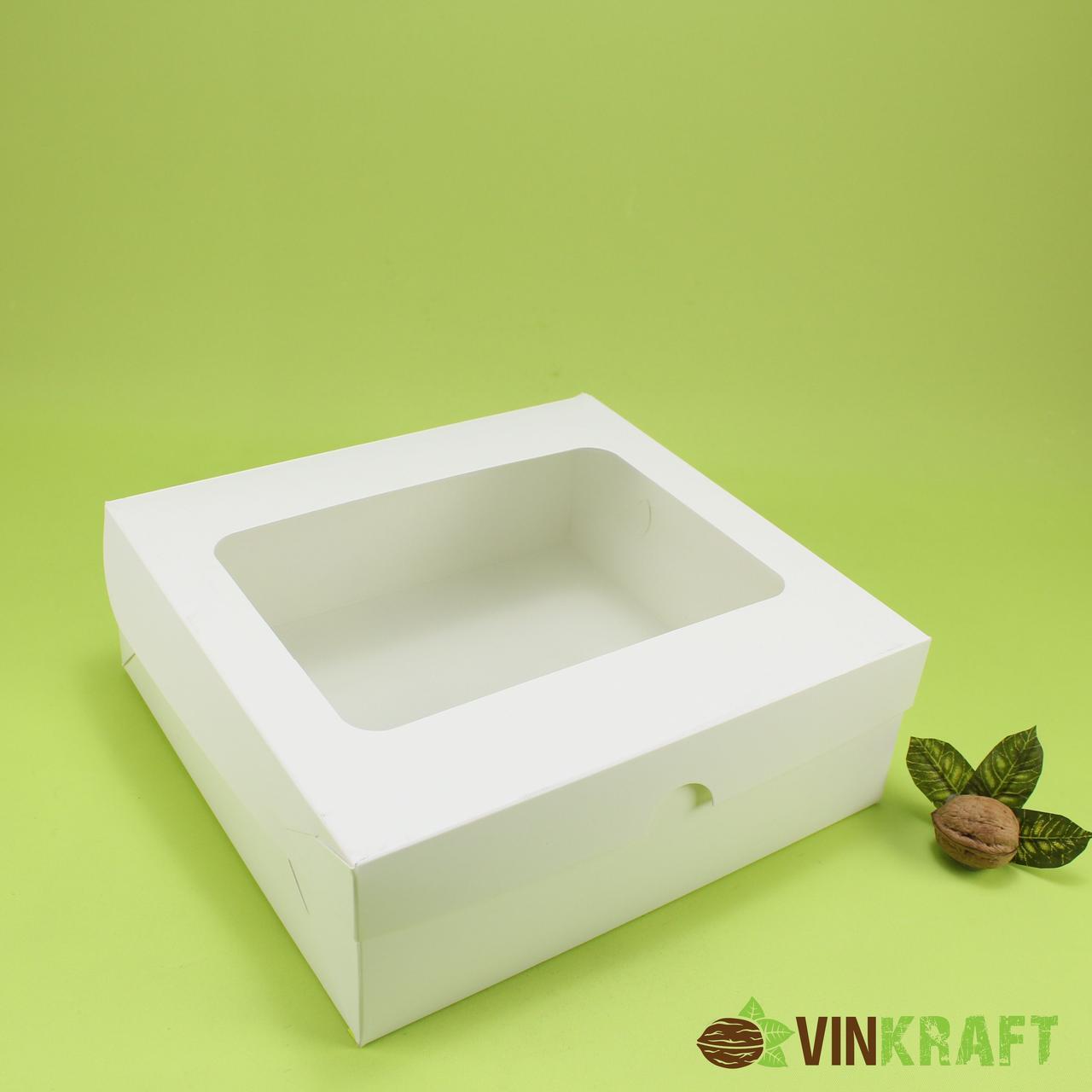Коробка 240*250*90 для торта з прямокутним вікном, біла