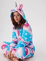 ✅ Детская пижама Кигуруми Единорог в звездочку разноцветный (единорог со звездами, звездный единорог) 130 (на рост 128-138см)