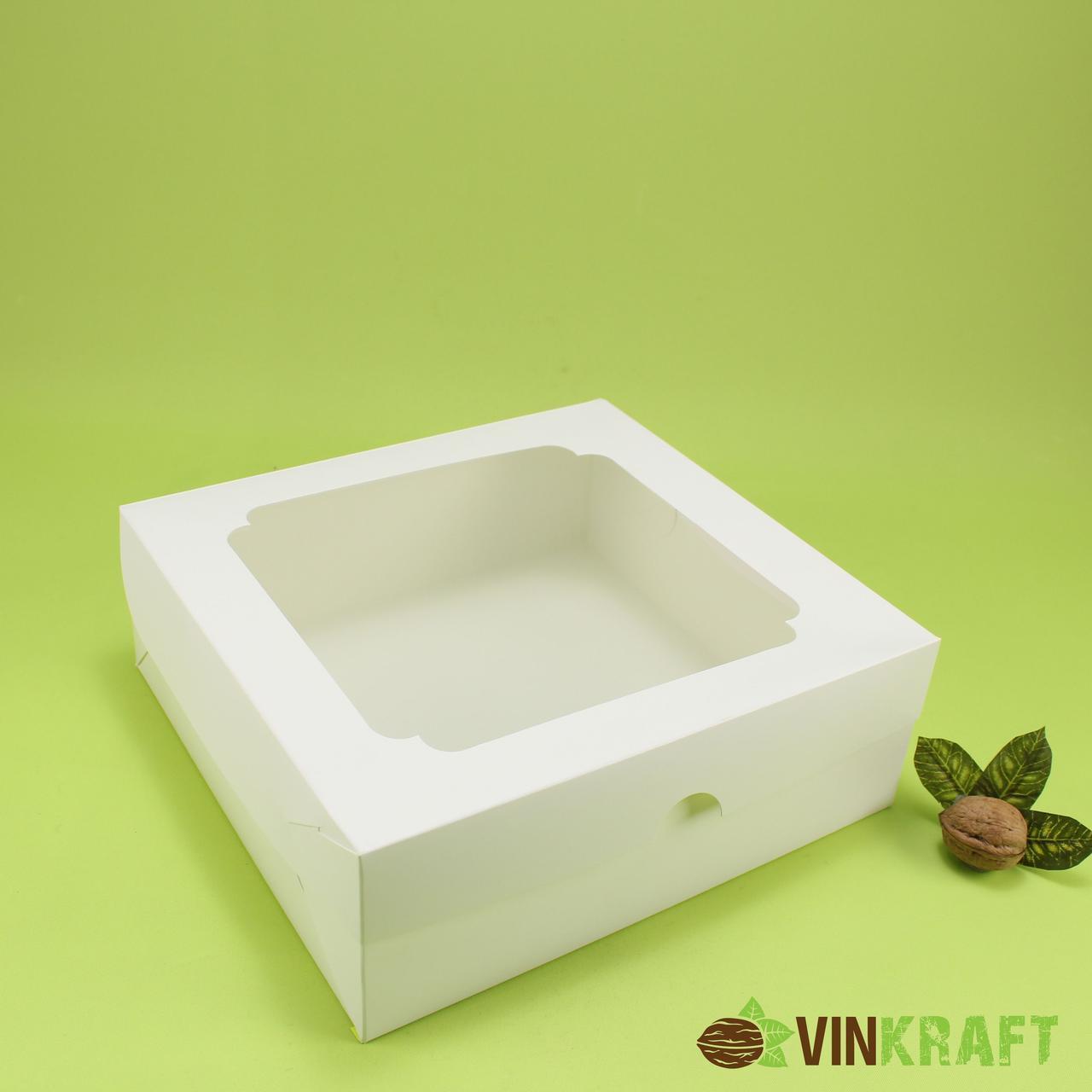 Коробка 250*240*90 для торта з вікном, біла