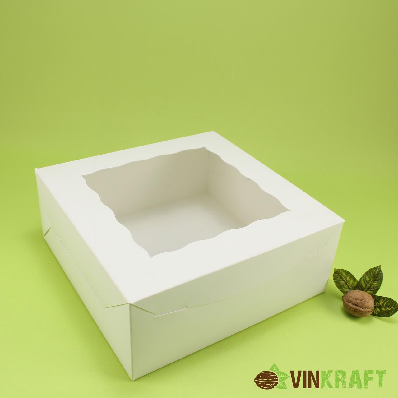 Коробка 250*250*100 для торта з вікном, біла