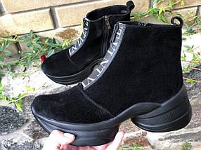 Стильні жіночі черевики чорного кольору на блискавці 36-40 р, фото 2