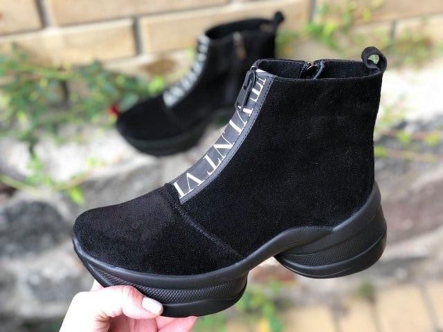 Стильні жіночі черевики чорного кольору на блискавці 36-40 р