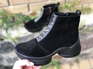 Стильные женские ботинки чёрного цвета на молнии 36-40 р