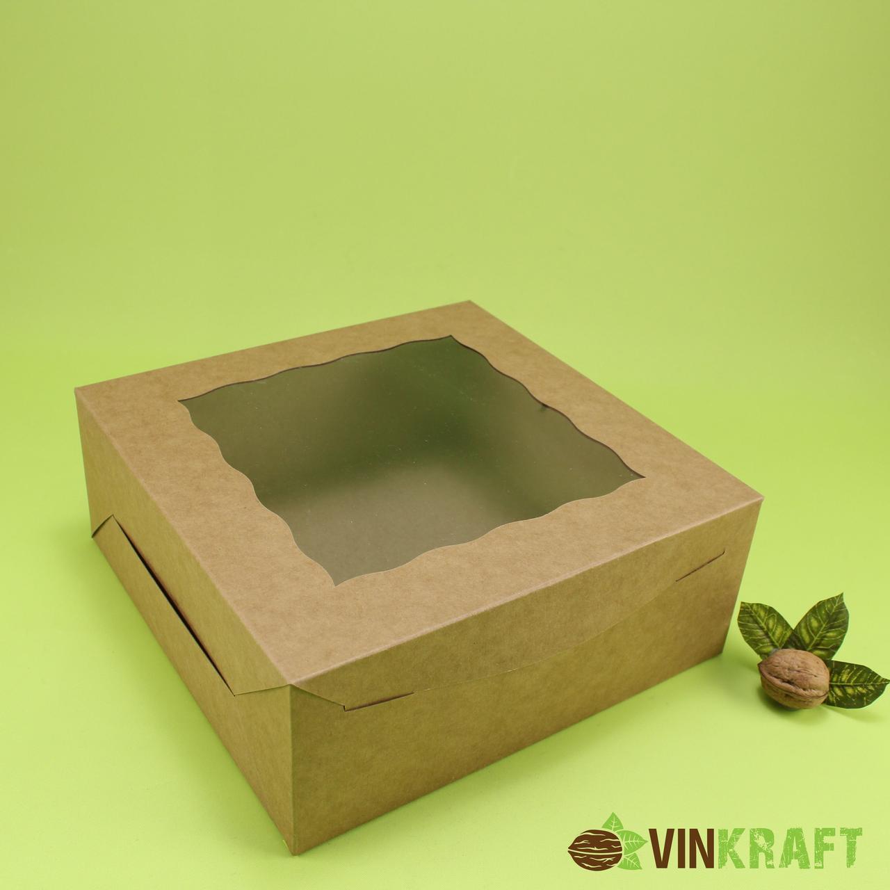 Коробка 250*250*100 для торта з вікном, крафт