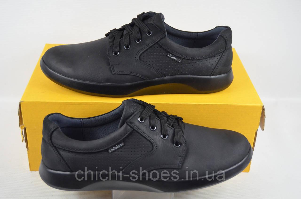Туфли мужские CLUB SHOES 19-28 чёрные нубук на шнурках