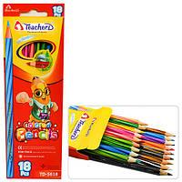 """Карандаши разноцветные """"TeacherD"""" в упаковке 18 цветов, карандаши для рисования, олівець, рисование"""