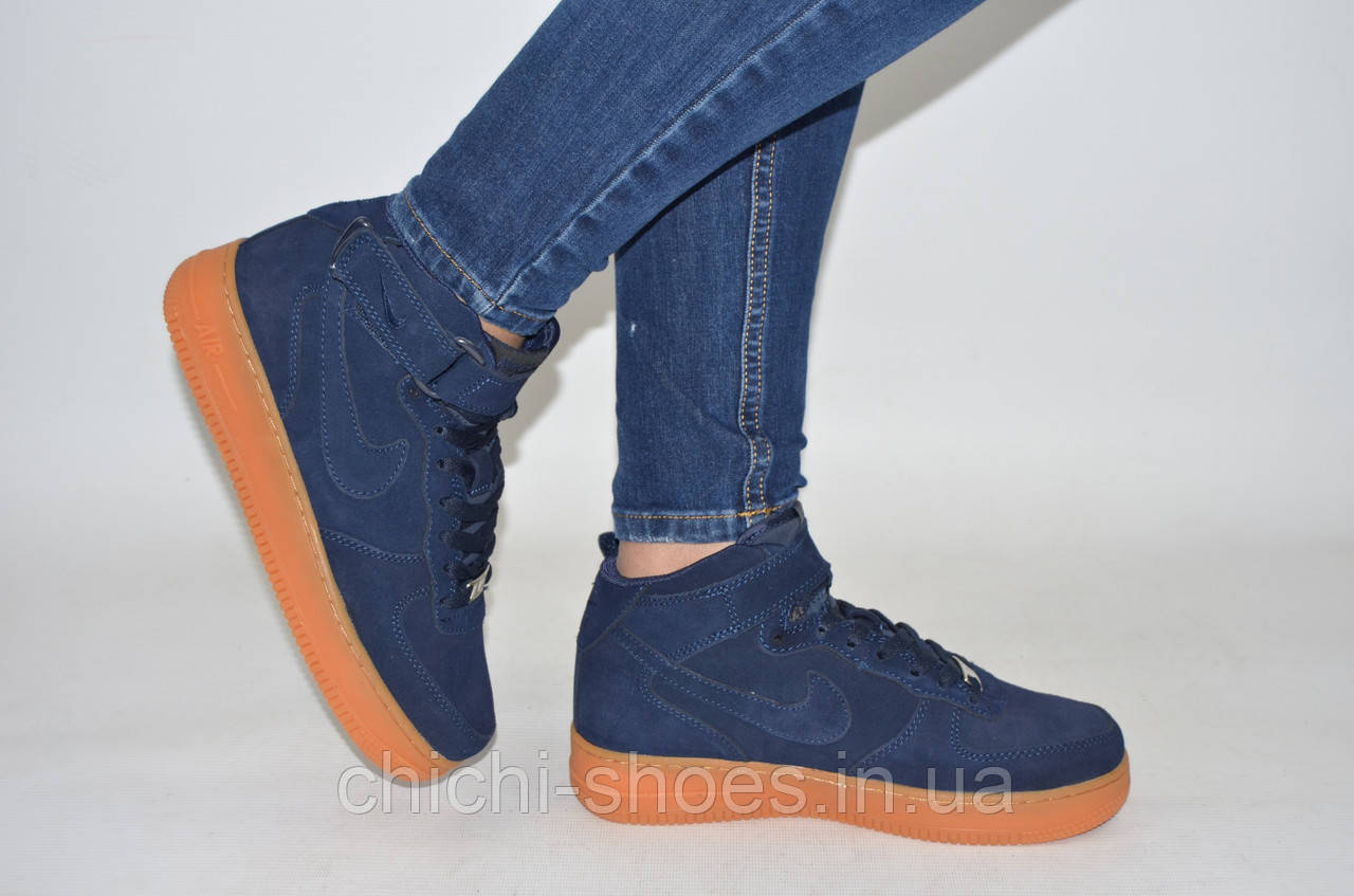 Кроссовки подростковые NIKE 1506-2 (реплика) синие замша