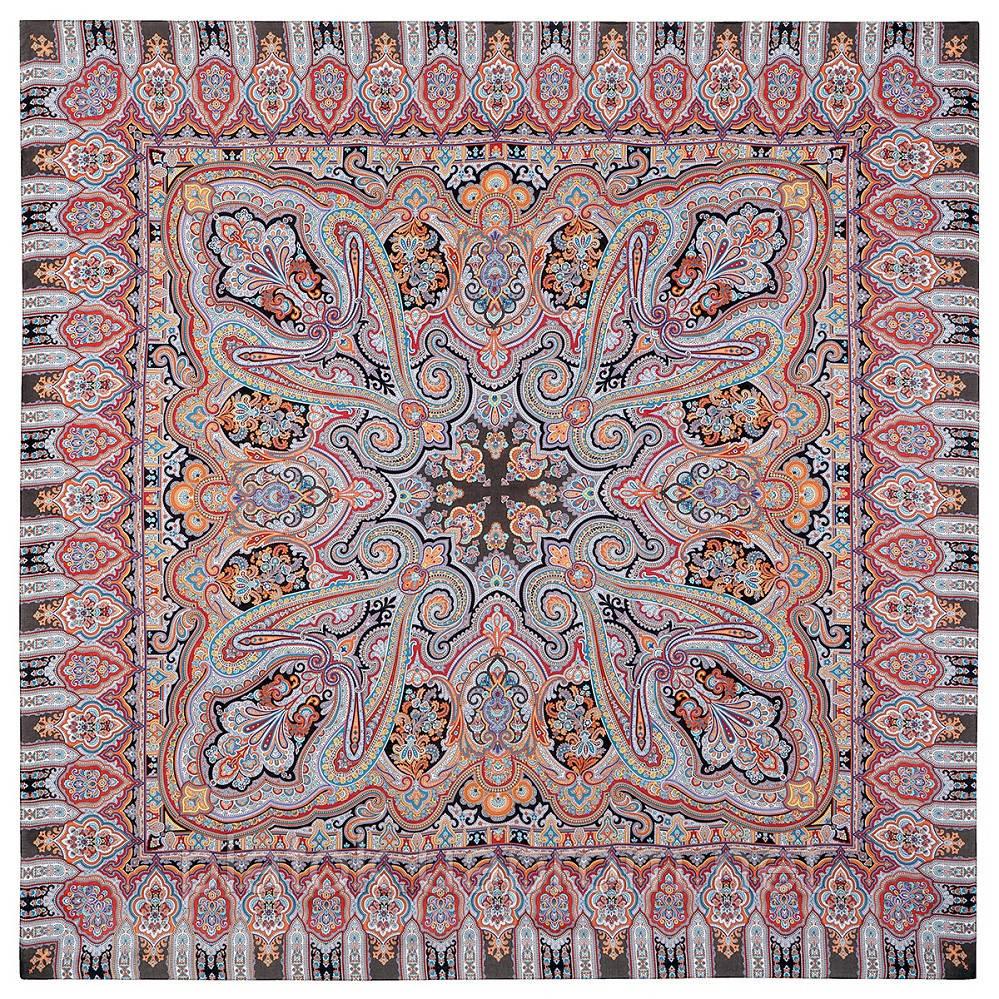 Фергана 1856-18, павлопосадский платок из вискозы с подрубкой