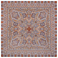 Фергана 1856-16, павлопосадский платок из вискозы с подрубкой, фото 1