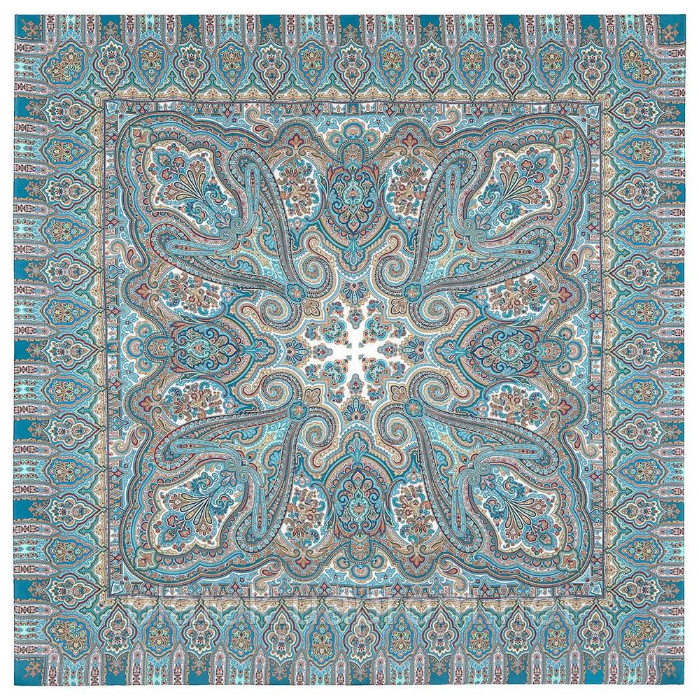 Фергана 1856-11, павлопосадский платок из вискозы с подрубкой