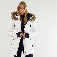 Пуховик полупальто зимний женский Snowimage с капюшоном и натуральным мехом белый, длинный