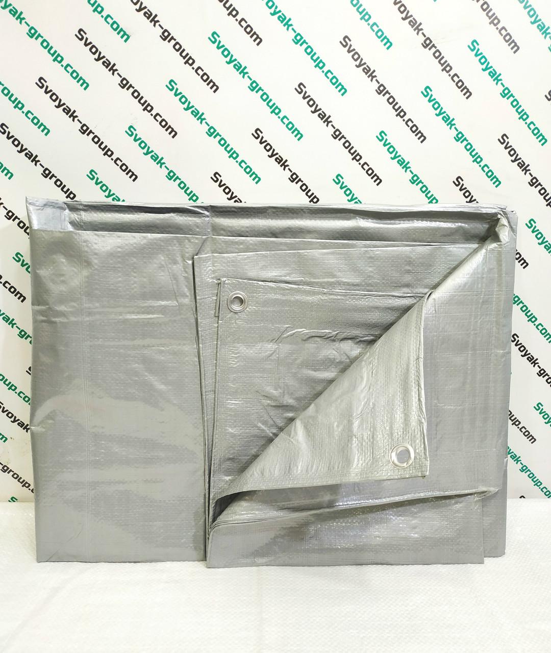 Тент серый с люверсами 100г\м2, 6х8м. Полипропиленовый, тарпаулиновый ламинированный.Полог.