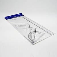 Набор линеек 4пр. 30см линейка, 2 треугольника, транспортир пласт
