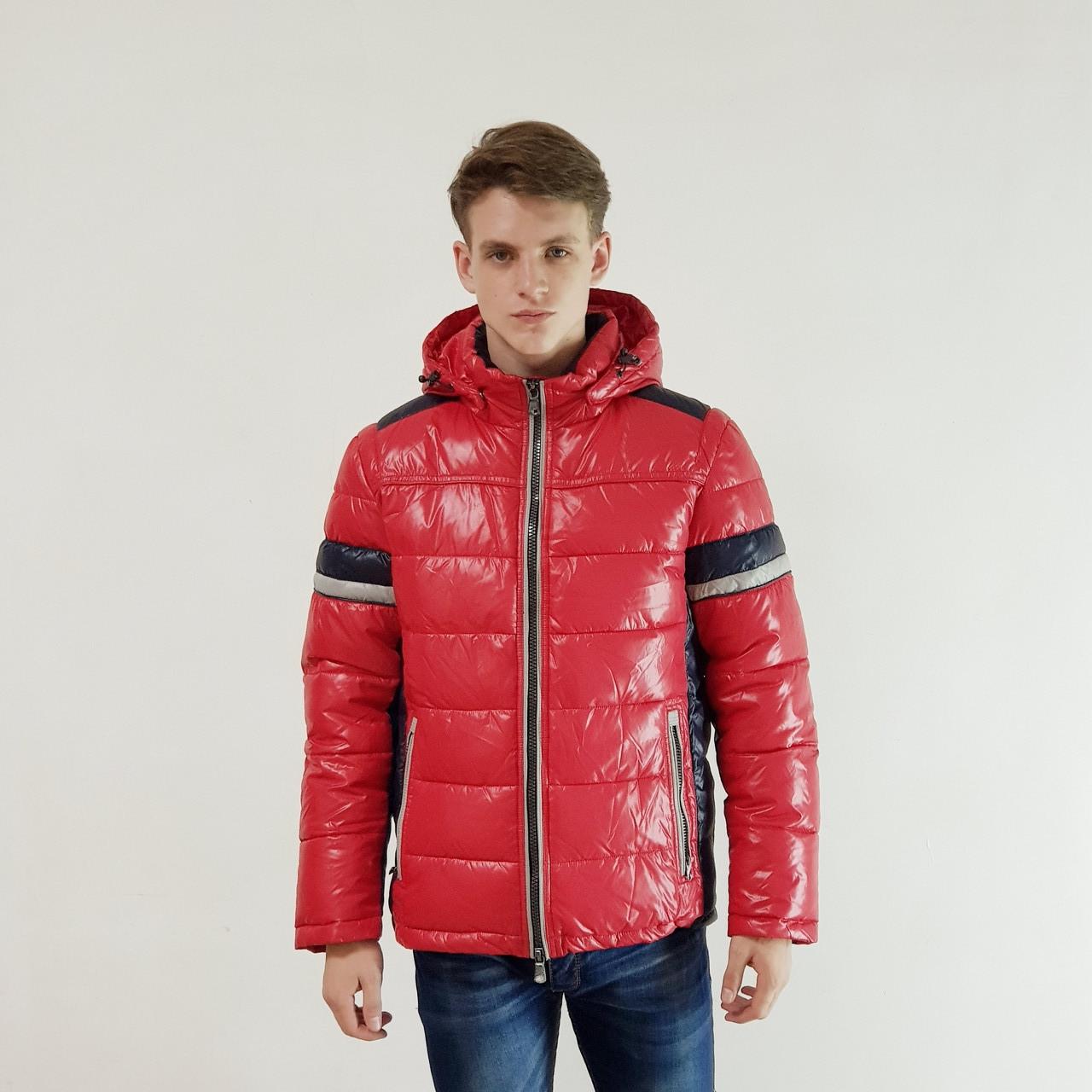 Легкий мужской пуховик Snowimage  красный зимний с капюшоном, распродажа