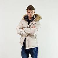 Пуховик мужской Snowimage с мехом(енот) бежевый зимний на пуху с капюшоном
