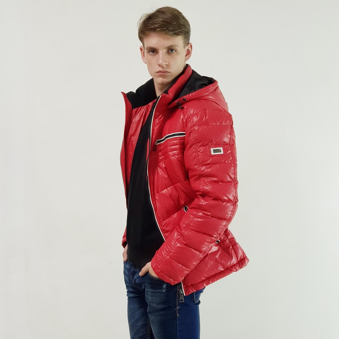 Легкий пуховик мужской Snowimage  красный зимний на пуху с капюшоном 48, скидки
