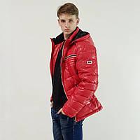 Легкий пуховик мужской Snowimage  красный зимний на пуху с капюшоном 48, скидки, фото 1