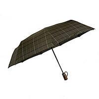 """Автоматический зонт с деревяной ручкой и куполом в клетку от производителя """"Три слона"""", хаки,  624-1"""