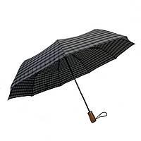 """Автоматический зонт с деревяной ручкой и куполом в клетку от """"Три слона"""", черно-серый, 624-2"""