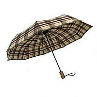 """Автоматический зонт с деревяной ручкой и куполом в клетку от """"Три слона"""", бежево-коричневый, 624-4"""
