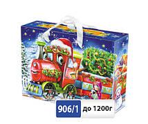 Упаковка праздничная новогодняя из металлизированного картона Паровоз, на вес до 1200г