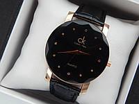 Женские кварцевые наручные часы  Calvin Klein (Келвин Клейн) на кожаном ремешке, золотые с черным - код 1584