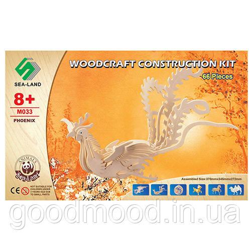 Конструктор M033 дерев'яні пазли 3D, жар-птиця, 66 дет., кор., 37-23-1 см.