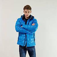 Пуховик мужской Snowimage голубой зимний на пуху с капюшоном, распродажа, фото 1