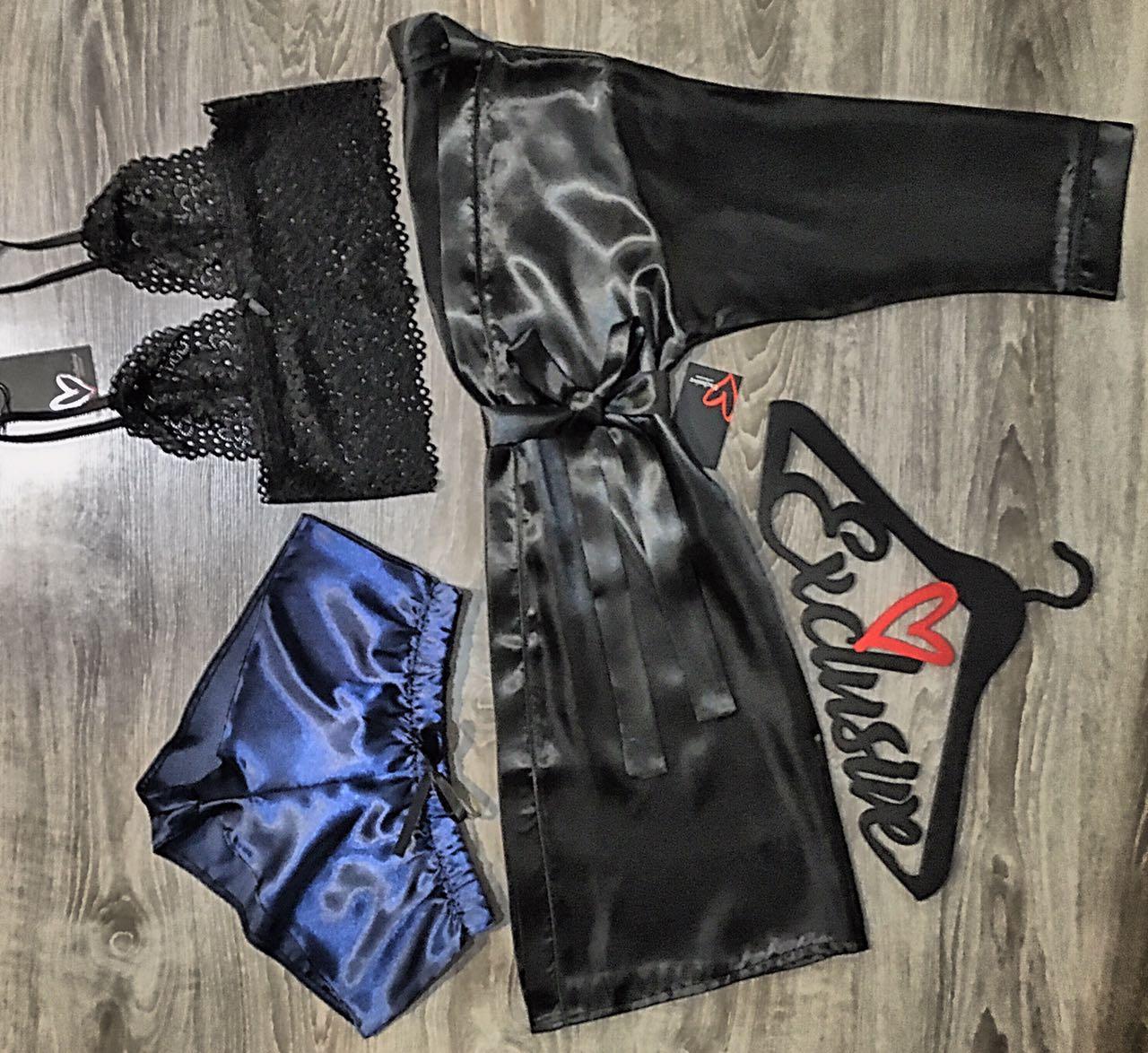 Чорний атласний халат + бюстгальтер + шорти, жіночий комплект
