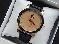Женские кварцевые наручные часы  Calvin Klein (Келвин Клейн) на кожаном ремешке, золотые с бежевым - код 1585