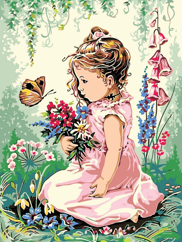 Картина по номерам 30×40 см. Babylon Девочка и бабочка (VK 134)