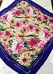 Мимолетное виденье 1407-13, павлопосадский шейный платок (крепдешин) шелковый с подрубкой, фото 7