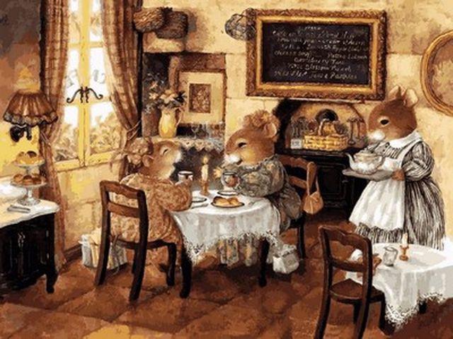 Картина по номерам 30×40 см. Babylon Мышиное кафе (VK 155)