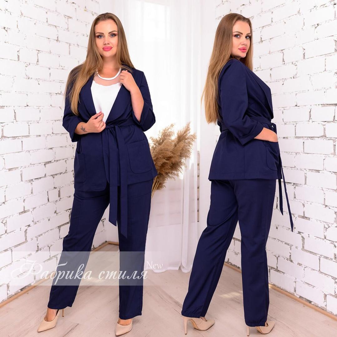 Костюм брючный женский двойка (брюки с пиджаком), р.48-50, 52-54, 56-58.Расцветки в ассортименте, код 5002С