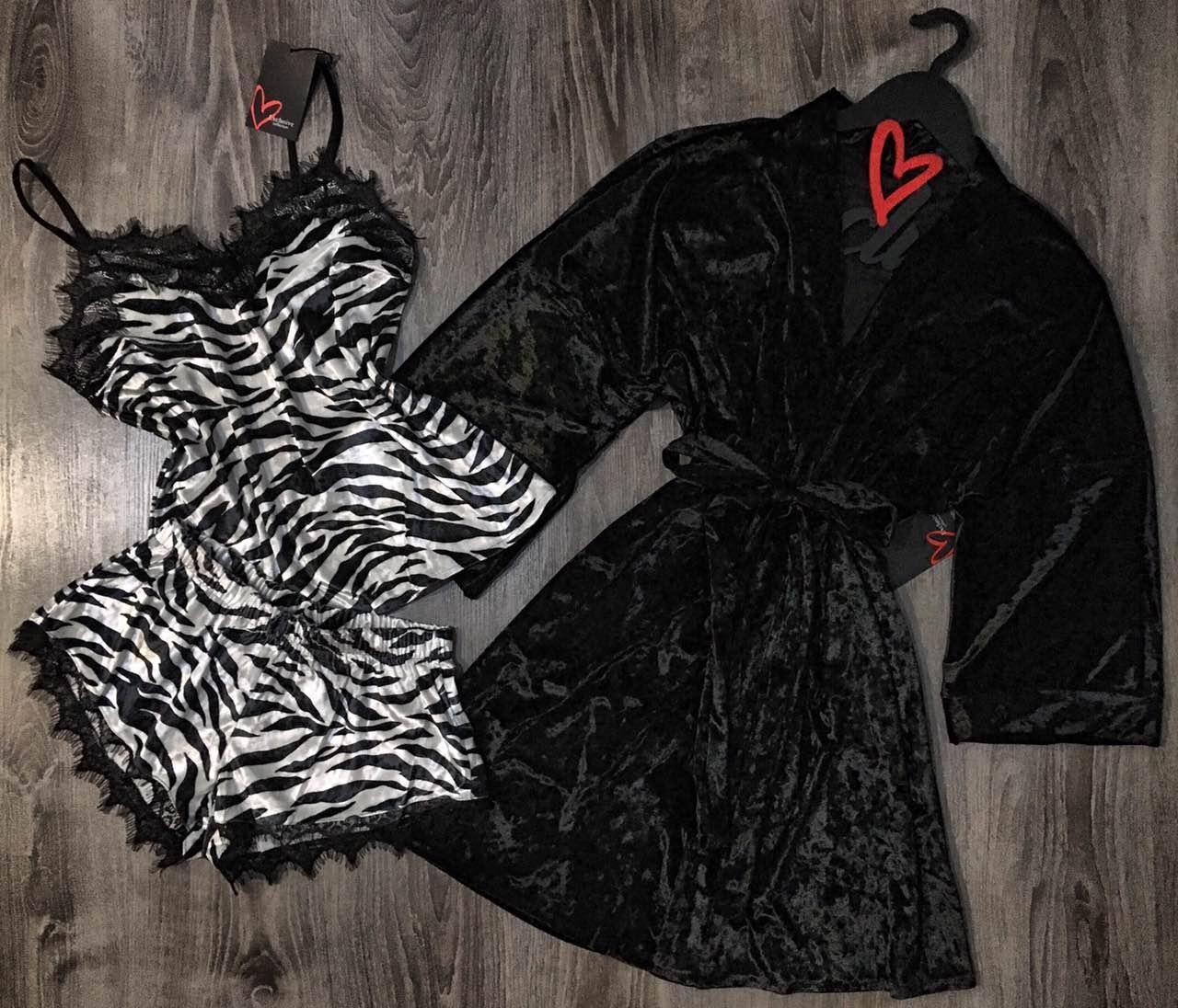 Комплект женский велюр, халат черный+ пижама майка щорты