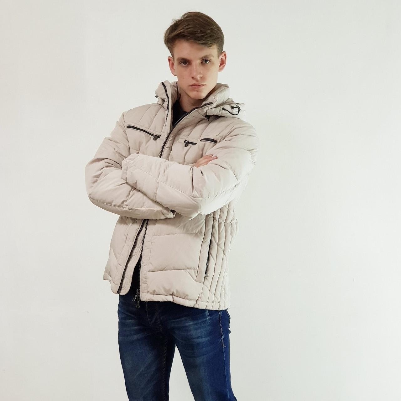 Качественный мужской пуховик Snowimage  светло серый зимний на пуху с капюшоном, распродажа