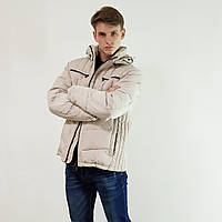 Качественный мужской пуховик Snowimage  светло серый зимний на пуху с капюшоном, распродажа, фото 1