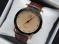 Женские кварцевые наручные часы  Calvin Klein (Келвин Клейн) на кожаном ремешке, золотые с бежевым - код 1588, фото 1