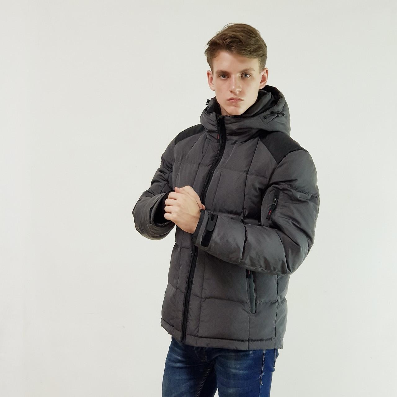 Мужской пуховик с капюшоном Snowimage  темно-серый зимний на пуху, скидки