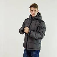 Мужской пуховик с капюшоном Snowimage  темно-серый зимний на пуху, скидки, фото 1