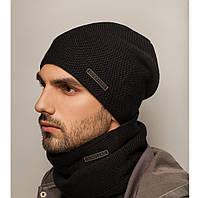 """Комплект шапка и шарф вязаная мужская """"Сильвер"""" черный антрацит 906060, фото 1"""