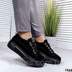 Слипоны стильные на шнурках, нат. замш