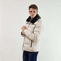 Лучший мужской пуховик Snowimage с мехом(кролик) бежевый зимний на пуху с капюшоном, скидки, фото 1