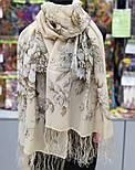 Зимняя сказка 10046-0, павлопосадский шарф шелковый крепдешиновый с шелковой бахромой, фото 3