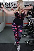 🔥✅ Комбинезон для фитнеса F-26 M Черный с розовым