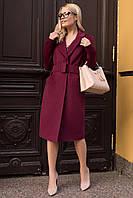Брендовое актуальное пальто цвета марсала Кареро 7968, фото 1