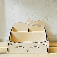 Органайзер из фанеры «Kawaii Cat» из дерева.