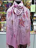Волшебная аллея 1051-54, павлопосадский шарф шелковый крепдешиновый с шелковой бахромой, фото 3